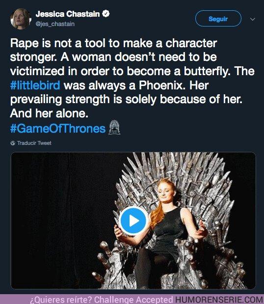37921 - La frase de Sansa que no está gustando nada al feminismo y que Jessica Chastain no ha dudado en criticar