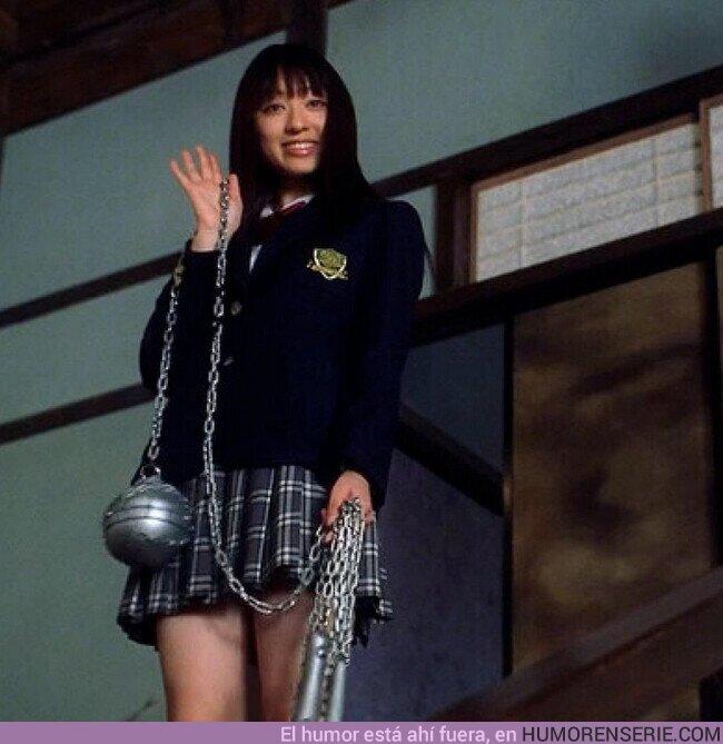 60377 - Chiaki Kuriyama, la actriz que interpreta a Gogo en Kill Bill, golpeó accidentalmente a Quentin Tarantino en pleno rodaje con su característico mangual.