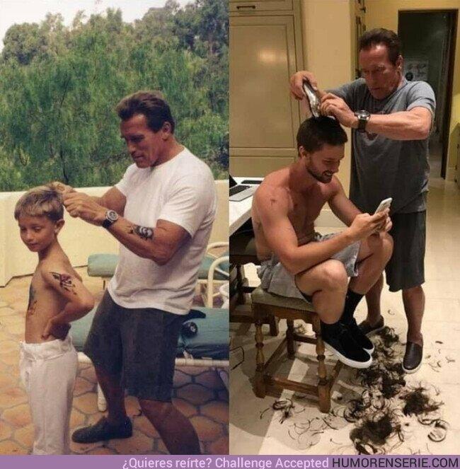 60830 - Podrá pasar el tiempo, pero #ArnoldSchwarzenegger siempre le cortará el cabello a su hijo Patrick