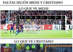 Enlace a Faltas según Messi y Cristiano