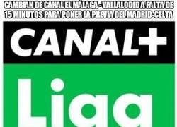 Enlace a Cambian de canal el Málaga - Vallalodid