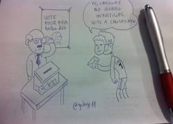 Enlace a CR7 con una careta de Casillas votándose a sí mismo