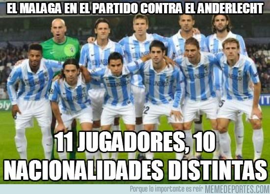 48164 - El Málaga en el partido contra el Anderlecht