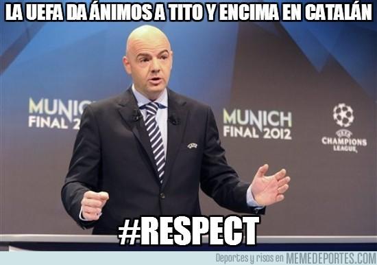55613 - La UEFA da ánimos a Tito y encima en catalán