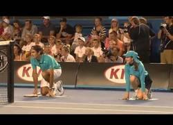 Enlace a Roger Federer de recogepelotas en el Open de Australia
