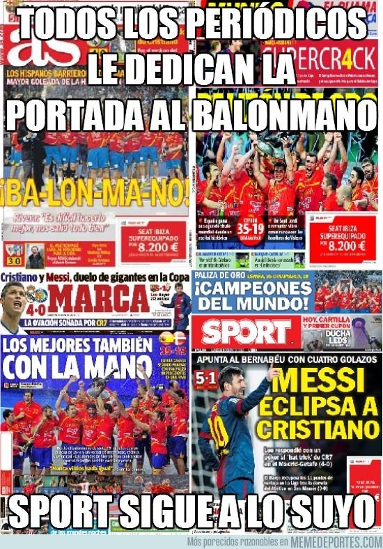 74837 - Todos los periódicos le dedican la portada al balonmano