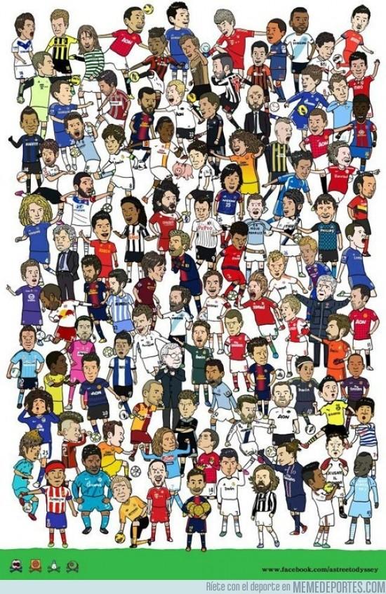80969 - Lluvia de futbolistas ¿a cuántos reconoces?