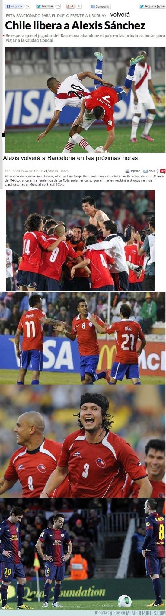 104848 - Alexis no jugará contra Uruguay y volverá a Barcelona