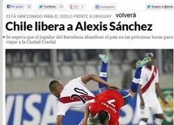 Enlace a Alexis no jugará contra Uruguay y volverá a Barcelona