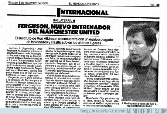 129797 - Documento histórico: Alex Ferguson, nuevo entrenador del Manchester United