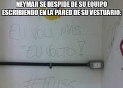 Enlace a Neymar se despide de su equipo escribiendo en la pared de su vestuario