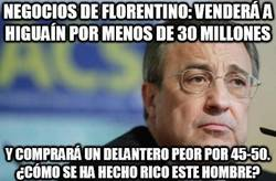 Enlace a Negocios de Florentino: venderá a Higuaín por menos de 30 millones
