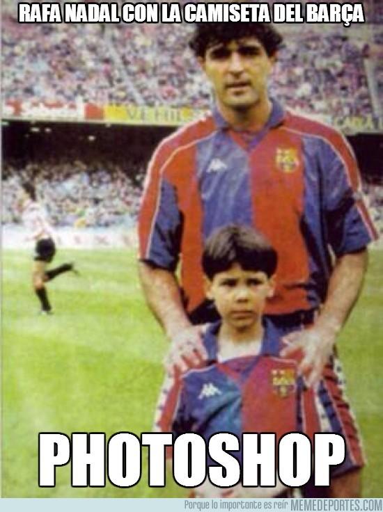 150324 - El merengue de Rafa Nadal con la camiseta del Barça
