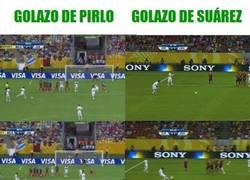 Enlace a Golazos parecidos: Pirlo y Suárez 16/06/2013