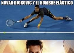 Enlace a Novak Djokovic y el hombre elástico
