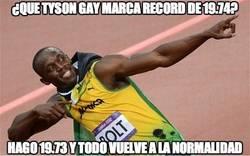 Enlace a ¿Que Tyson Gay marca record de 19.74?