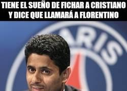 Enlace a Tiene el sueño de fichar a Cristiano y dice que llamará a Florentino