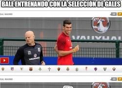 Enlace a Bale entrenando con la selección de Gales