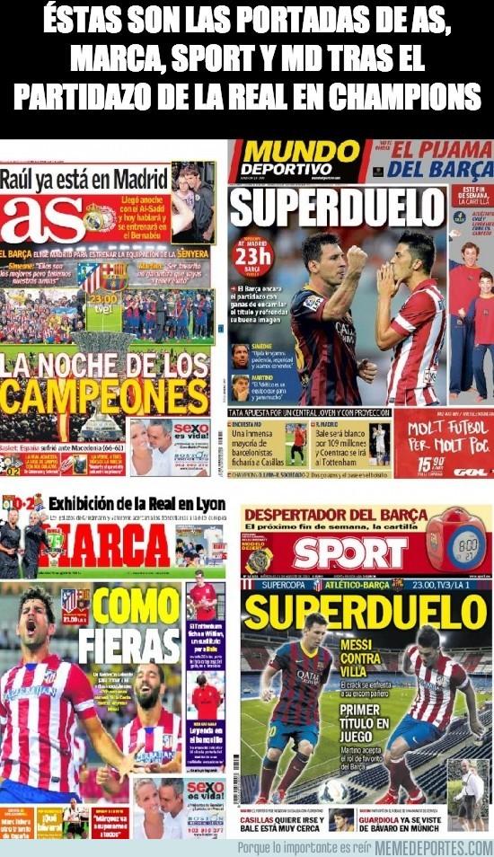 177627 - Éstas son las portadas de AS, Marca, sport y MD tras el partidazo de la real en Champions