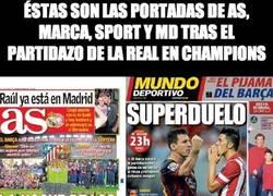 Enlace a Éstas son las portadas de AS, Marca, sport y MD tras el partidazo de la real en Champions