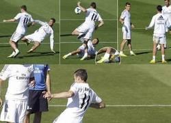 Enlace a Cristiano marcando terreno con Bale