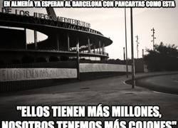 Enlace a En Almería ya esperan al Barça con pancartas como ésta