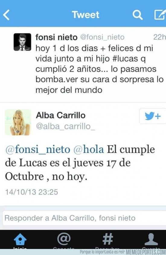 196357 - Fonsi Nieto se equivoca con la fecha del cumpleaños de su hijo y su ex lo corrige por twitter