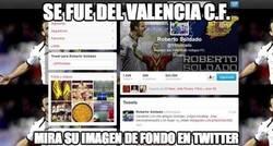 Enlace a Soldado, visto su twitter, no olvida al Valencia