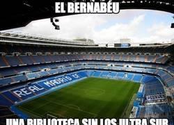 Enlace a El Bernabéu parece una biblioteca