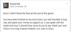 Enlace a Özil se disculpa tras su mal gesto en el partido contra el City