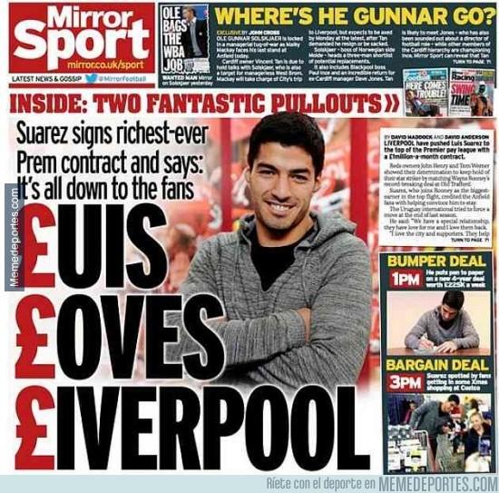 232013 - La portada del Mirror Sports tras la renovación de Luis Suárez