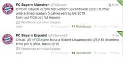 Enlace a El Bayern confirma el fichaje de Lewandowski vía Twitter