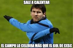 Enlace a Messi sale a calentar
