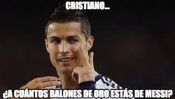 Enlace a Cristiano ¿A cuántos balones de oro estás de Messi?