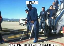 Enlace a Neymar haciendo un Rey Juan Carlos