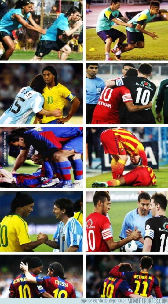 248800 - Ronaldinho con Messi y Leo con Neymar, la historia continúa. por @_SentimentCule