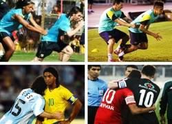 Enlace a Ronaldinho con Messi y Leo con Neymar, la historia continúa. por @_SentimentCule