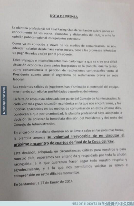 255427 - La situación del Racing de Santander ya ha llegado a su límite