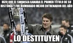 Enlace a Hizo que el Swansea ganara el primer título de su historia y fue nombrado mejor entrenador del año