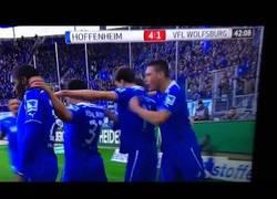 Enlace a VÍDEO: Ojo a la mascota del Hoffenheim en la celebración del 4° gol