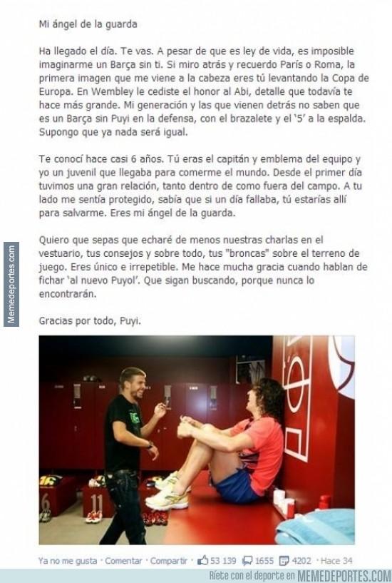 277343 - Emotiva carta de despedida de Gerard Piqué a Carles Puyol