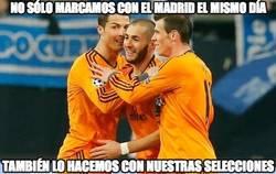 Enlace a Bale, Cristiano y Benzema están muy enchufados hoy