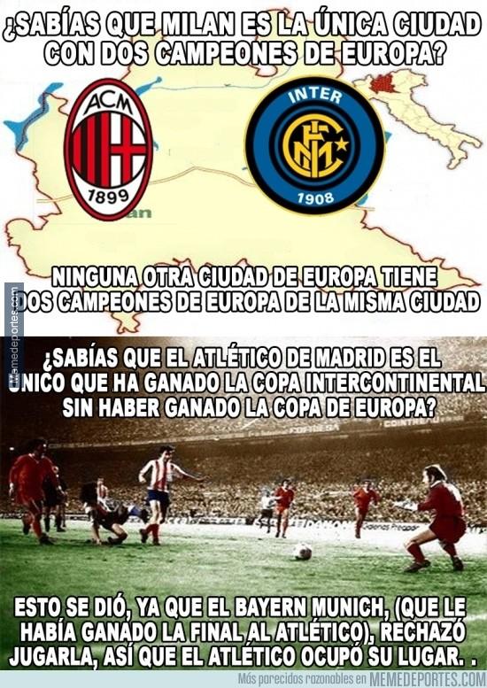 280756 - 2 datos históricos del Atlético de Madrid y Milán en Champions League
