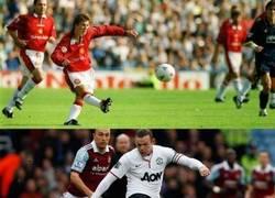 Enlace a Y 18 temporadas después, Rooney repitió el gol de David Beckham