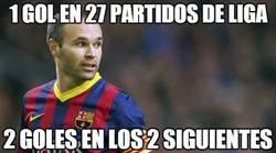 Enlace a Andrés Iniesta, 1 gol en 27 partidos de liga