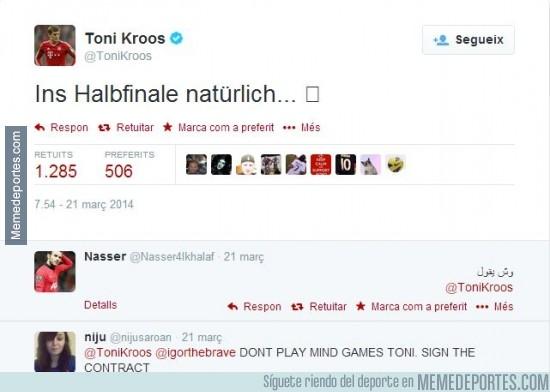 287915 - Toni Kroos la lía en Twitter: 'En camino a semifinales'. Estos no son los valores de Pep, Toni