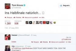 Enlace a Toni Kroos la lía en Twitter: 'En camino a semifinales'. Estos no son los valores de Pep, Toni