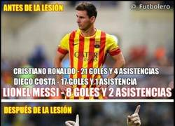 Enlace a Messi antes y después de la lesión