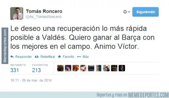 288946 - Esto no se ve todos los días, Roncero deseándole la recuperación a Valdés