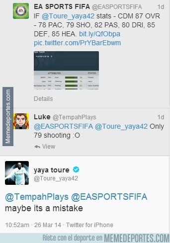 289537 - Toure es un cachondo, alucina que sólo tenga un 79 de disparo en el FIFA